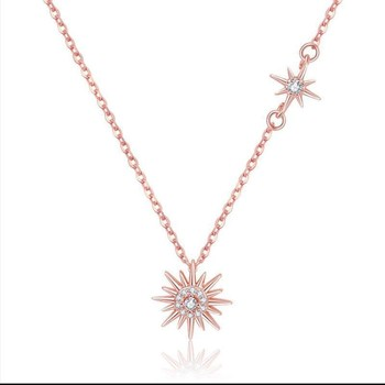 Fashion Rose Gold Plated Sunflower Sun Star Necklace with Shiny Zirconia for Women Chokers Necklace Gift Party Jewelry XL20092 image