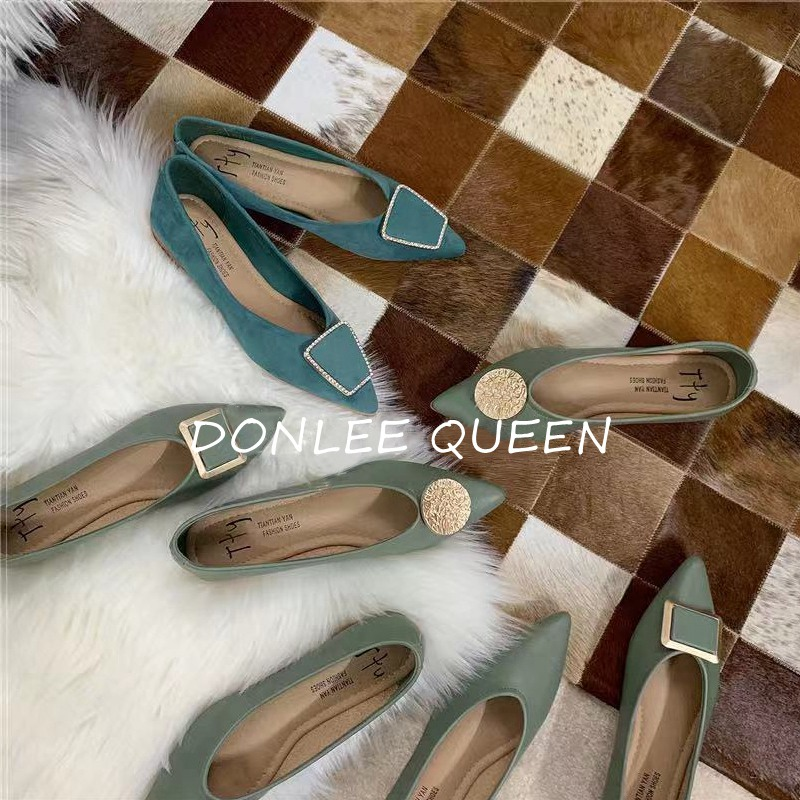 Women Shoes Flat Ballerina Female Casual Work Ballet Flats Ladies Shoes 2020 Fashion Metal Buckle Soft Moccasins Turquoise Color