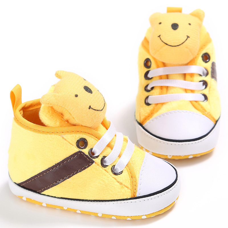 Disney Baby Girl Boy Soft Sole Cartoon Winnie The Pooh Anti-slip Shoes Comfortable Toddler Baby Shoes In Baby First Walkers