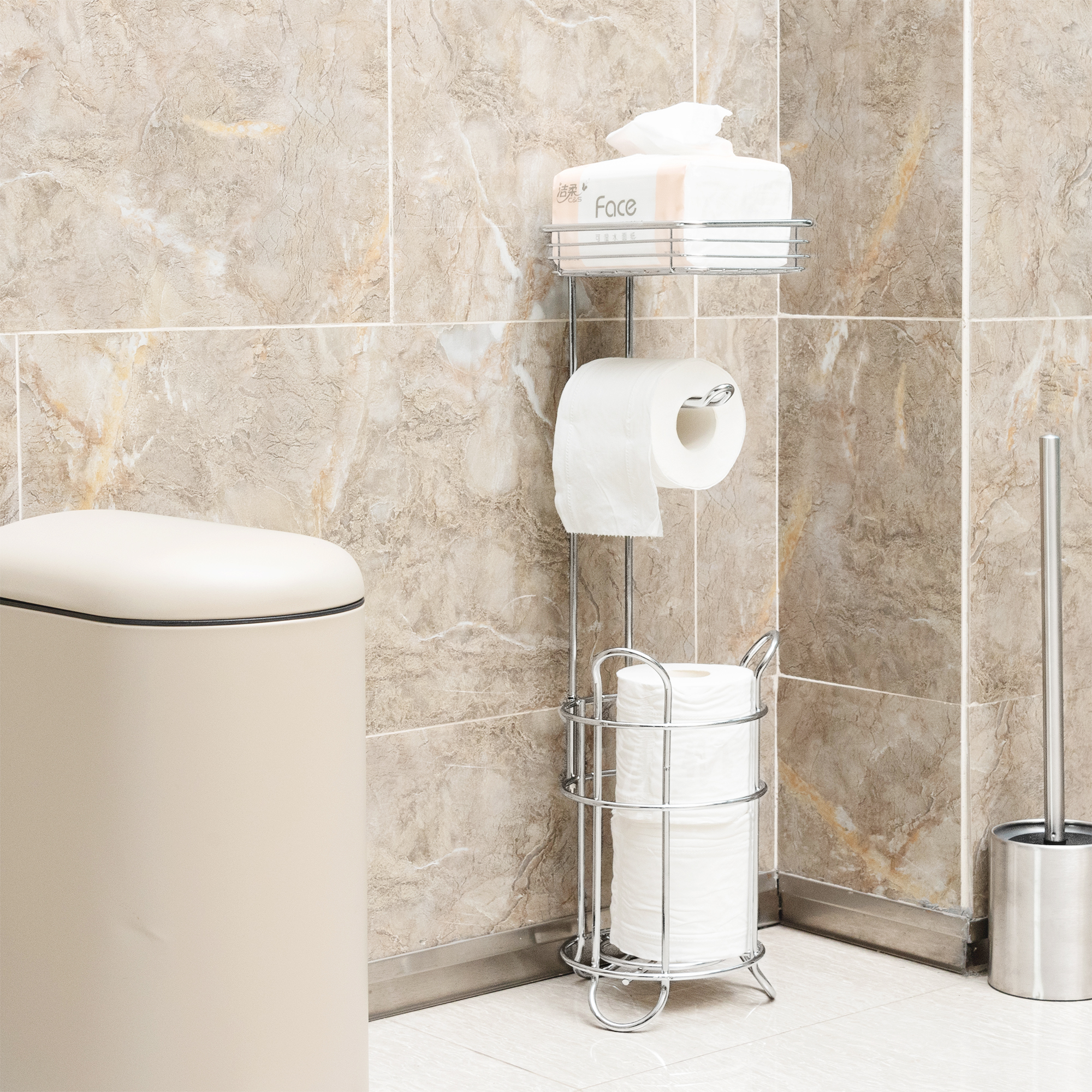 Stainless Steel Chrome Finish Bathroom Toilet Tissue Paper Roll Storage Holder With Reserve Freestanding Shelf For Cell Phone