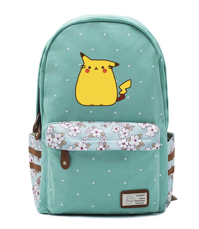 Nieuwe Anime Vet Kat Canvas Tas Bloemen Golf Punt Rugzakken Pikachu Rugzak Meisjes Vrouwen Student Schooltassen Reizen Schoudertas