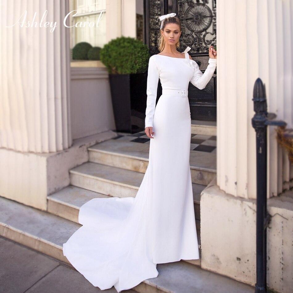 One Shoulder Mermaid Wedding Dresses 2020 Elegant Soft Satin Bow Long Sleeve Backless Pure White Bridal Gowns Vestido De Novia