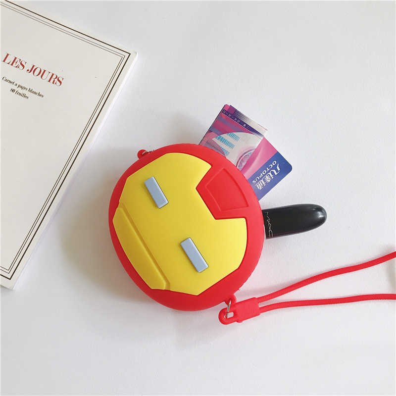 Monedero de dibujos animados de Los Vengadores Iron Man Girls Boys funda clave Mini bolsa de dinero para mujeres auriculares lindos caja de silicona bolsa de monedas suave