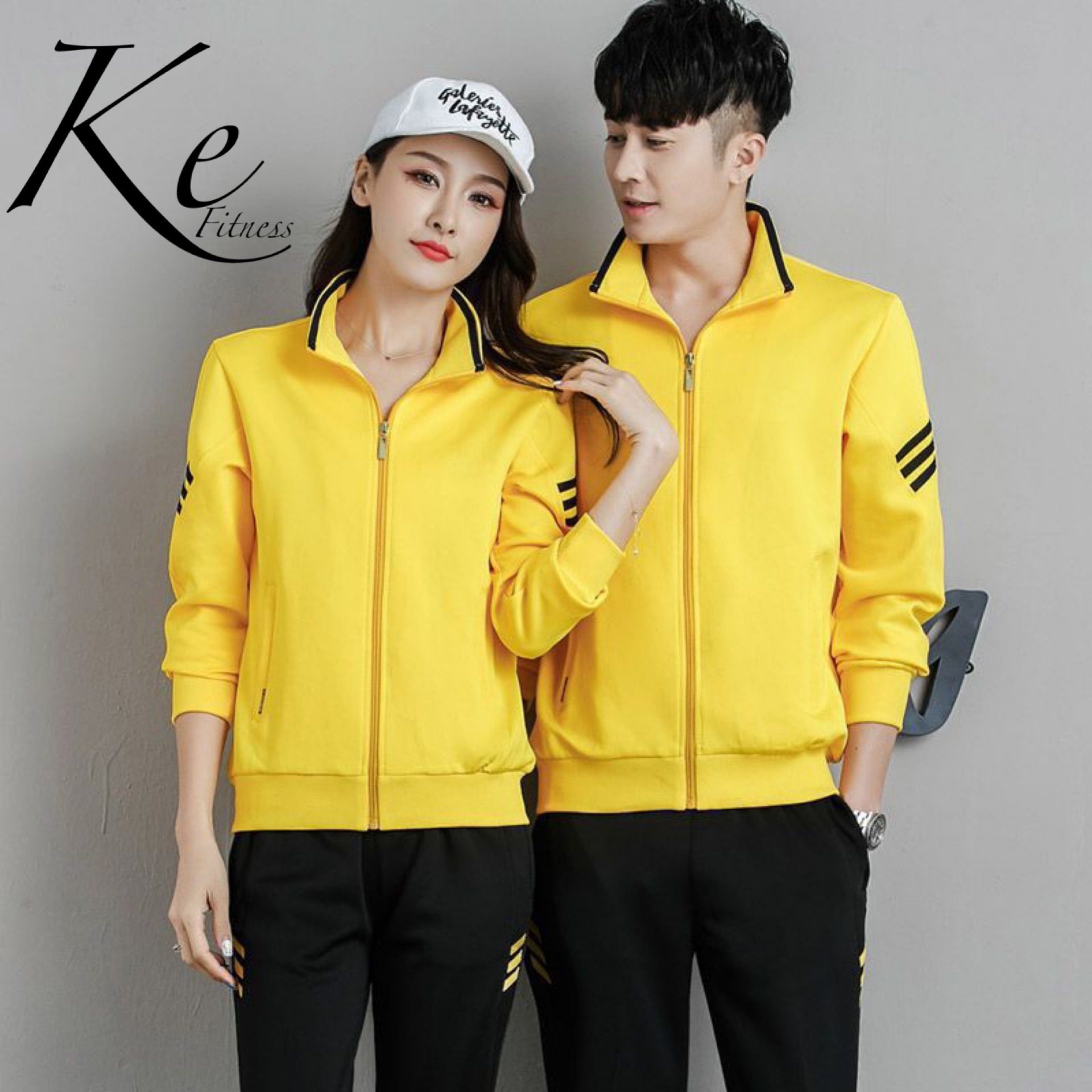 KE New sport set man woman couples tracksuit big plus extra size running leasure black red yellow striped sleeve and pants