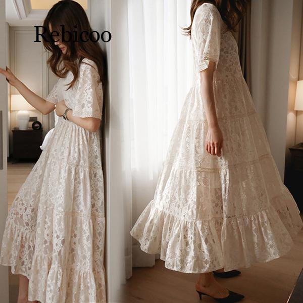 Young Women Summer Lace Dress Suit Short Sleeve Fashion Fairy Maternity Dress With Cotton Lining Sweet Maxi Dress Wholesale