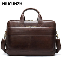 NIUCUNZH Men Briefcase Totes Men's Bag Genuine Leather 15'' Laptop Bag Leather Male Briefcases for Document Office Bags for Men