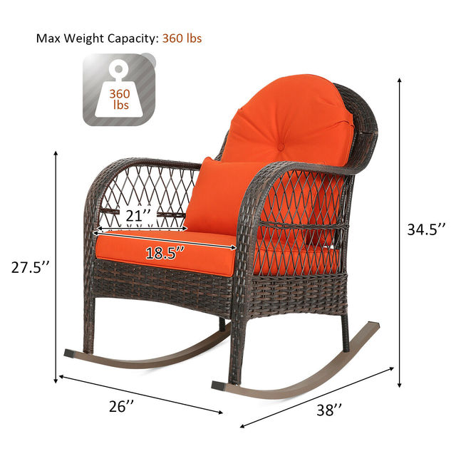 2PCS Outdoor  Wicker Rocking Chair 3