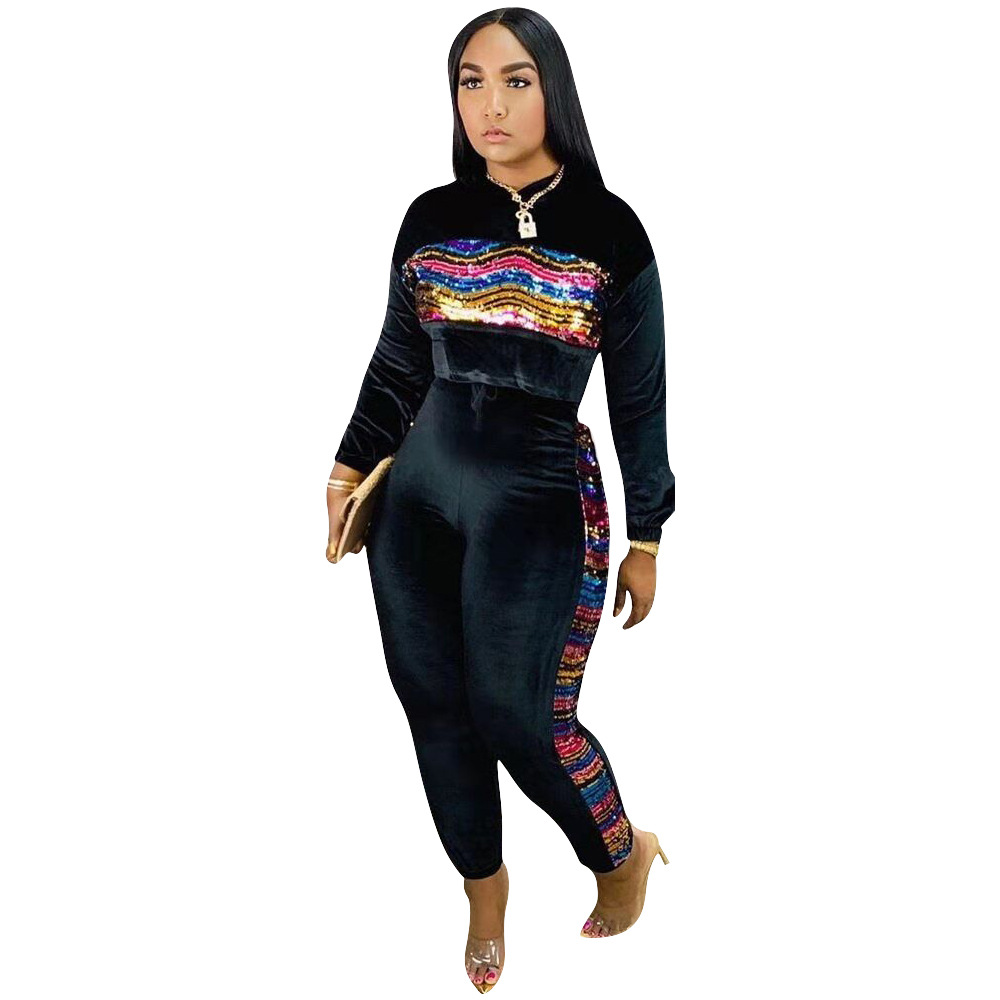 Adogirl Colorful Sequins Patchwork Velvet Tracksuit 2020 Spring Women Fashion Casual Two Piece Set Long Sleeve Sweatshirt Pants