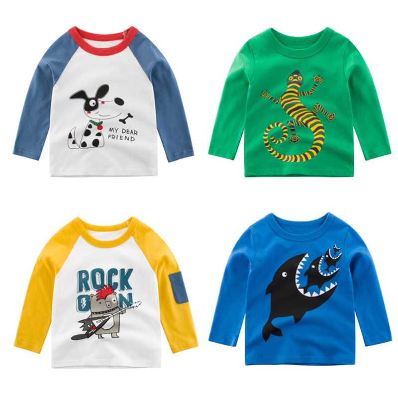 Baby T-Shirt Clothing Tops Dinosaur Long-Sleeve Autumn Kids Cotton Children Cartoon 2-8T