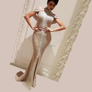 Image 1 - סקסי גבוה צוואר שמלת ערב טול בת ים/חצוצרה שמפניה לבוש הרשמי מלא אורך את חצאית פיצול פאייטים חרוזים רוכסן
