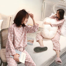 Spring And Autumn New Style Pajamas Women's Bean Paste Point Tracksuit Cute Comfortable Casual Sweet Set-Outer Wear(China)