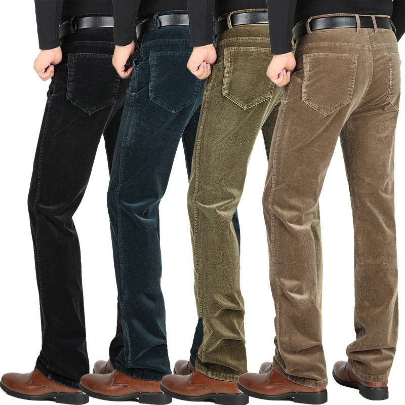 Winter New Men's Stretch Cotton Velvet Pants High Waist Corduroy Casual Pants Thick Men's Straight Trousers Size 29-40