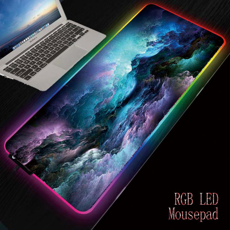 Mairuige Colorful Clouds RGB Gaming MousePad Large Computer Mouse Pad Backlight Mause Pad 90X40/25X30CM Carpet Keyboard Desk Mat