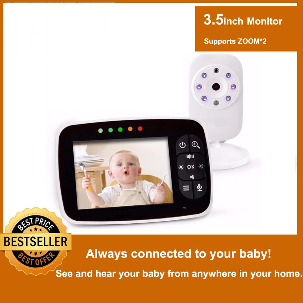 Newest Baby Monitor3 5 inch LCD Screen Display Infant Night Vision CameraTwo Way AudioTemperature SensorECO ModeLullabies