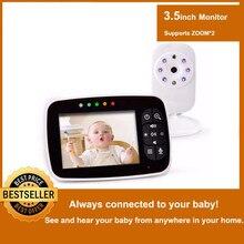 Nouveau moniteur de bébé, caméra de Vision nocturne infantile daffichage à cristaux liquides de 3.5 pouces, Audio bidirectionnel, capteur de température, Mode ECO, berceuses