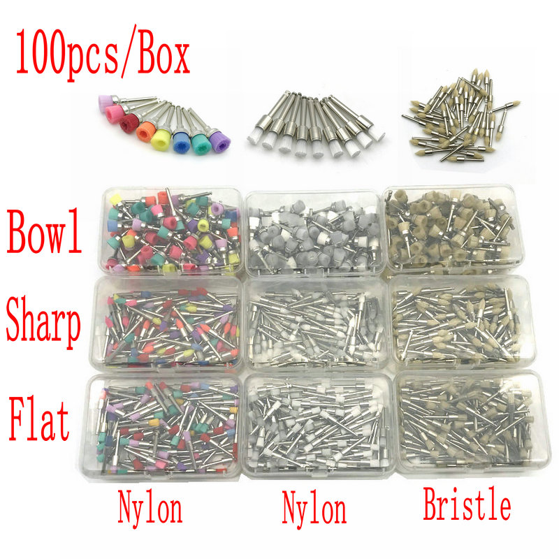 100pcs/box Disposable Dental Polisher Nylon Bristle Brush Polishing Polisher Cup Teeth Whitening Prophy Brushes Dentist Tools