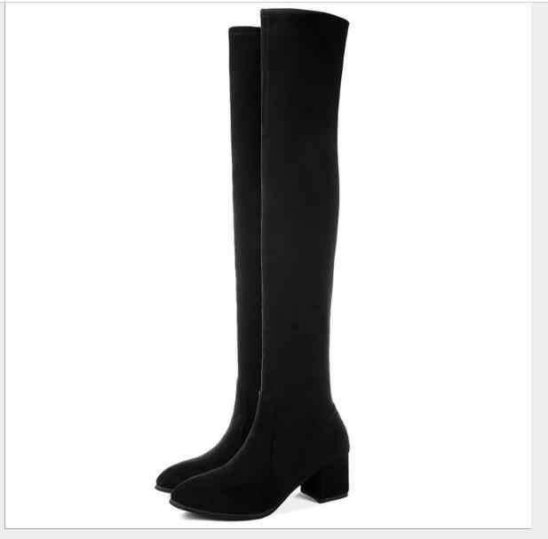 Sonbahar güzel Kadın Diz Üzerinde Yüksek Çizmeler Moda Tüm Maç Sivri Burun Kış Ayakkabı Zarif Tüm Maç Kadın Botları
