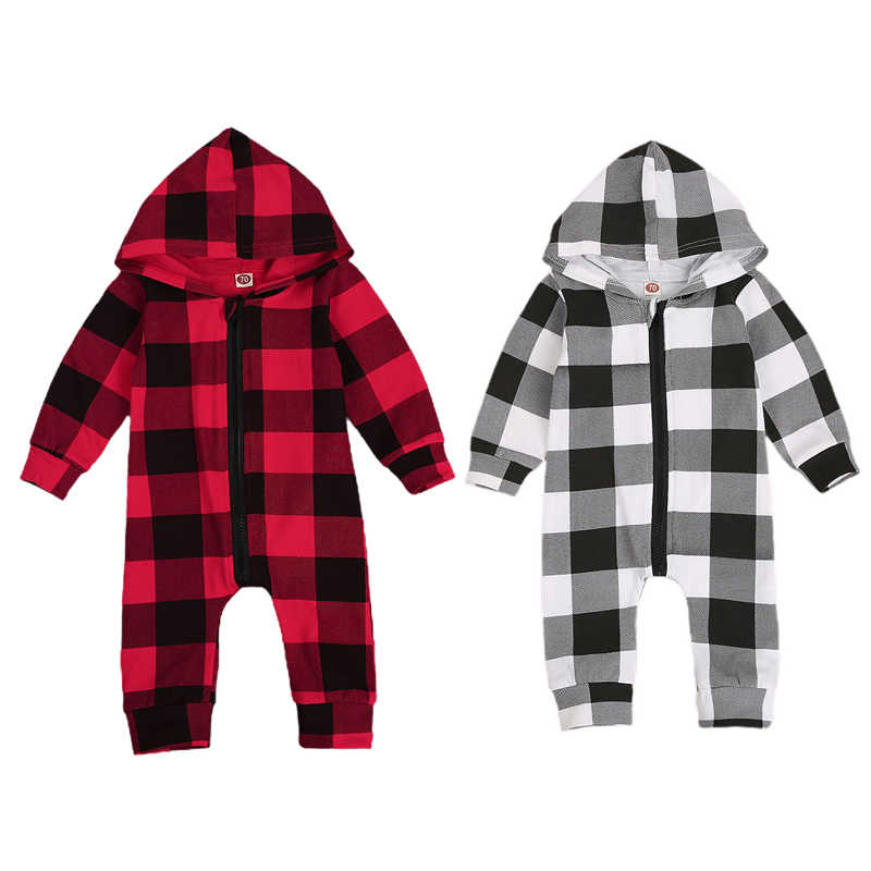 FOCUSNORM Christmas 0-24M Baby Boy Girl Rompers Long Sleeve Zipper Hooded Plaid Romper Jumpsuit Autumn Clothes