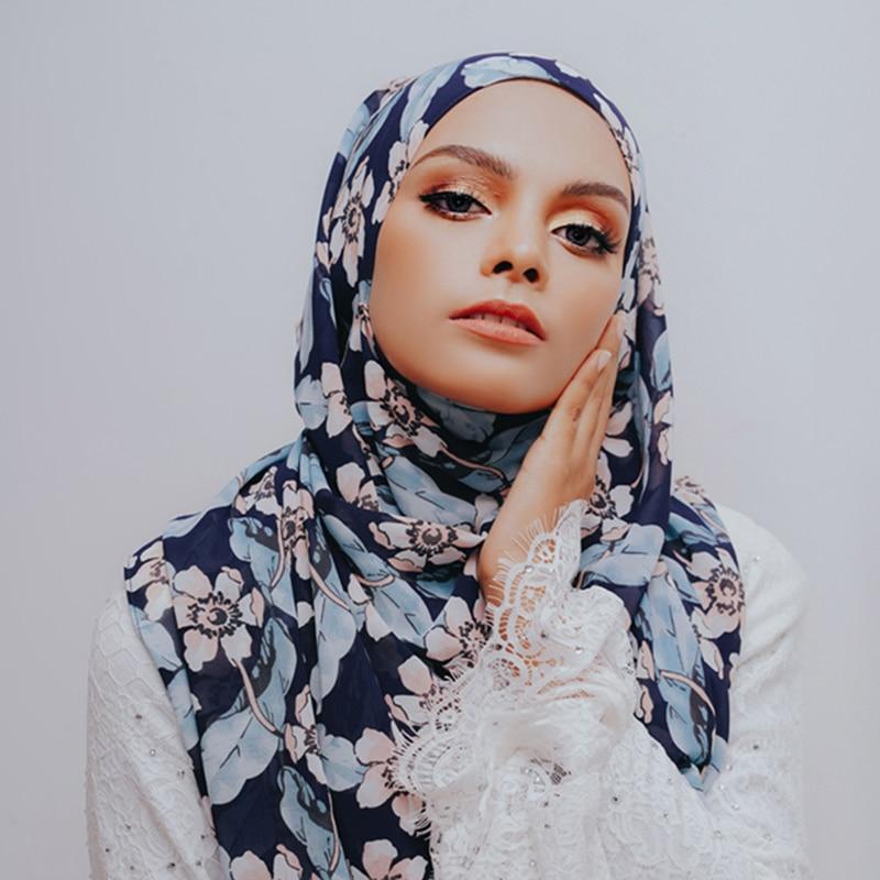 New Spring Thicker Bubble Chiffon Hijab Scarf Printed Shawls Muslim Scarves Headscarf Wraps Turbans Headband Long Scarves