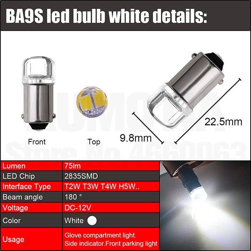H19d01e6512494e2992712b08f160ef49a 2x BA9S T4W LED Car light bulb T2W T3W H5W interior Car LED License Plate light 2 LED 2835 SMD DC12V 12913 12910 12929