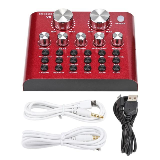 USB Audio Mixer Mobile Computer Live Headset Karaoke Microphone recording studio equipment