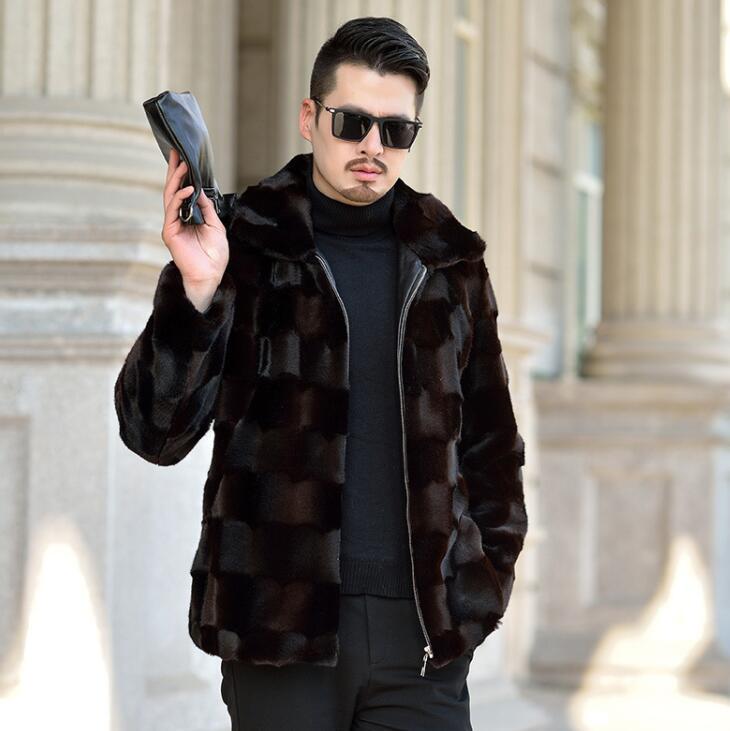 Risvolto Autunno visone del faux giacca di pelle mens di inverno addensare caldo cappotto di pelle pelliccia degli uomini di sottile giacche jaqueta de couro nero 964 - 6