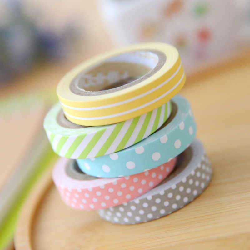 5 Buah/Lot Warna Bergaris Titik Masking Washi Tape Set Dekoratif Scotch Tape Papelaria Label