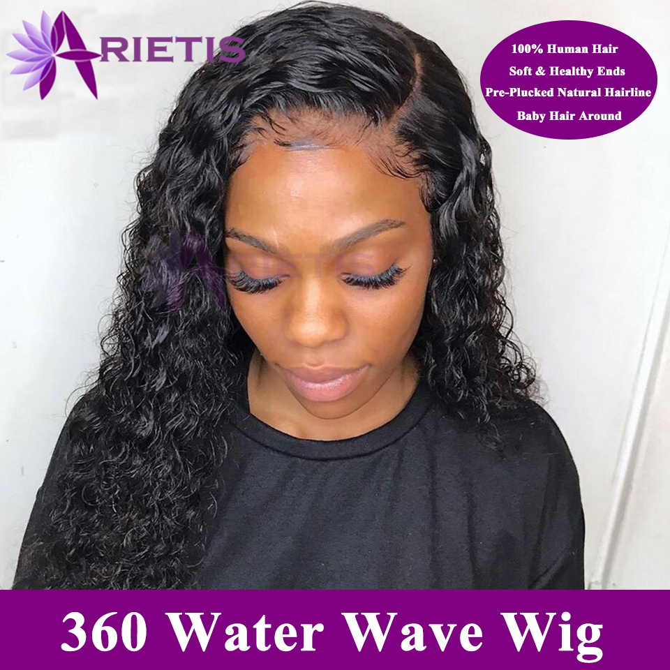 360 Lace Frontal Wig  Water Wave Lace Front Human Hair Wigs Pre-pluck With Baby Hair For Black Women Arietis Remy Peruvian Hair
