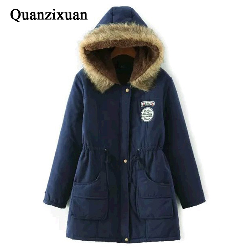 Winter Coat Women Winter Jacket Long Parkas Female Hooded Jacket Winter Coat Cotton Fur Basic Jacket Long Coat For Women Parka image