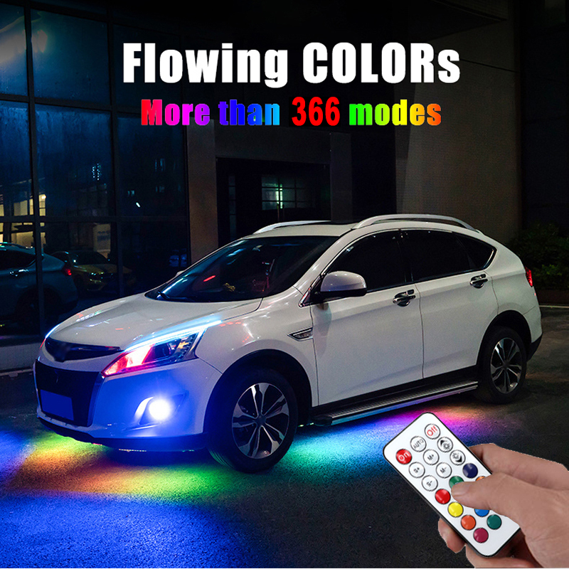 Car LED Flowing Streamer RGB Underglow Underbody IP68 Waterproof Car Styling Tube Underbody System Remote Control Neon Lamp