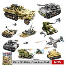 цена на 1061Pcs 8IN2 Military Technic Tank Model Building Blocks Sets Weapon Creator Army WW2 Bricks Educational Toys for Children