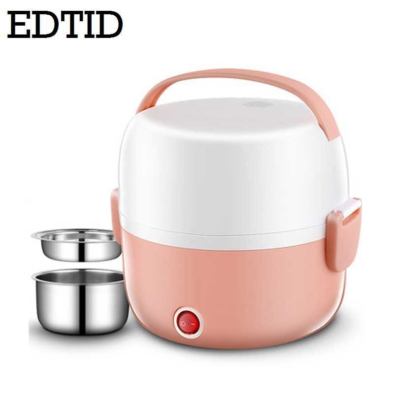 EDTID وعاء طبخ أرز كهربائي صغير الفولاذ المقاوم للصدأ 2/3 طبقات باخرة المحمولة وجبة الحرارية التدفئة الغداء صندوق لحفظ الطعام دفئا