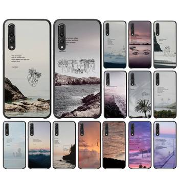 Yinuoda Rupi Kaur Beach Sea Mountain Lines Art Poetry Phone Case For Huawei P10 20 30 40 Lite P20Pro P30Pro P40Pro Psmart image