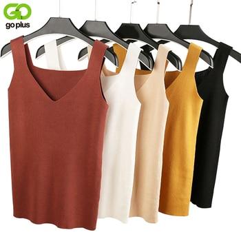 GOPLUS Sexy V Neck Knitted Crop Top Women's Shirt Plus size Tank Top Underwear Top Women Casual Streetwear Clothing For Women