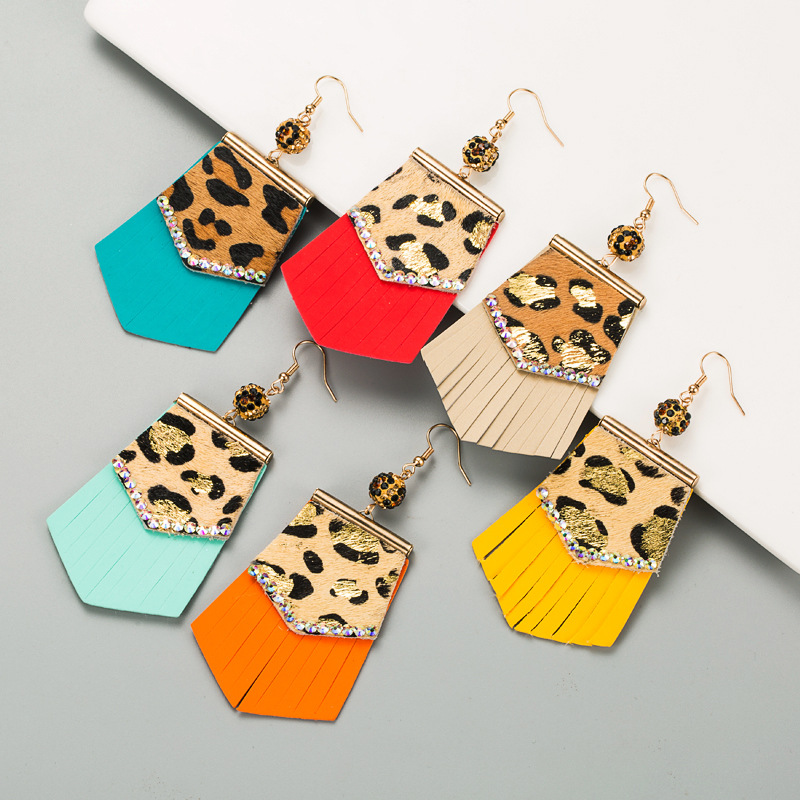 Crystal Gold Stamping Leopard Print Colorful Leather Tassels Dangle Earrings