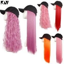 KLV ashion Женская шапочка, парик, цветные длинные прямые волосы, кудрявые цельные бейсбольные шляпы парики Косплей Вечерние наряды реквизит