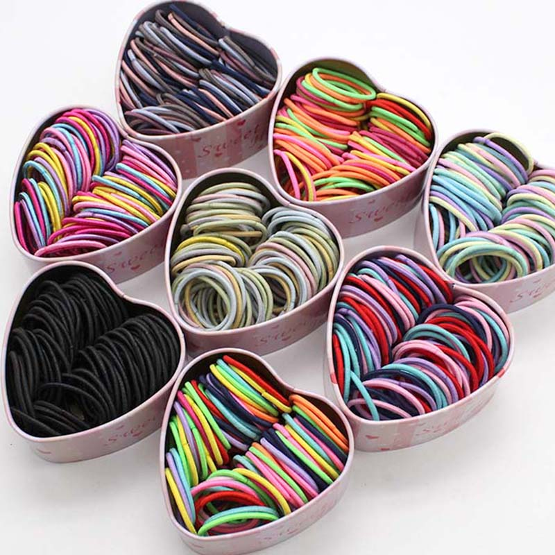 50PCS/Box New Girls Elastic Hair Bands Ponytail Holder Scrunchies Kids Hair Ropes  Rubber Bands Hair Accessories  Gum For Hair