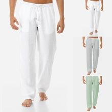 Męska bawełniana pościel na lato oddychająca oddychająca proste Pure Color sznurkiem proste spodnie sportowe joga Jogging Homme spodnie # Y20