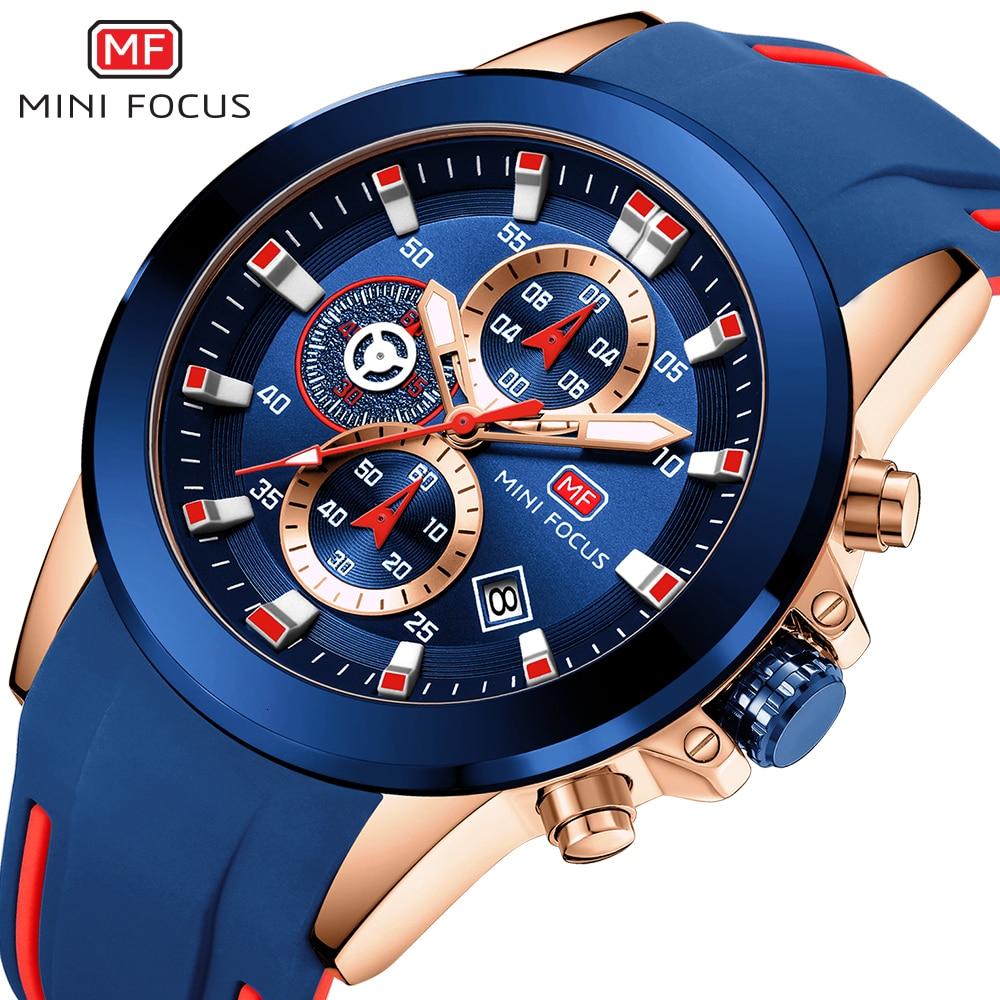 MINI FOCUS Chronograph Military Watch Men Sports Watches Mens 2019 Luxury Brand Golden Blue Silicone Wrist Quartz
