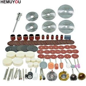 Image 3 - 100 pces/gravador ferramentas abrasivas acessórios dremel conjunto de acessórios ferramenta rotativa se encaixa para dremel broca moagem polimento lâmina de serra