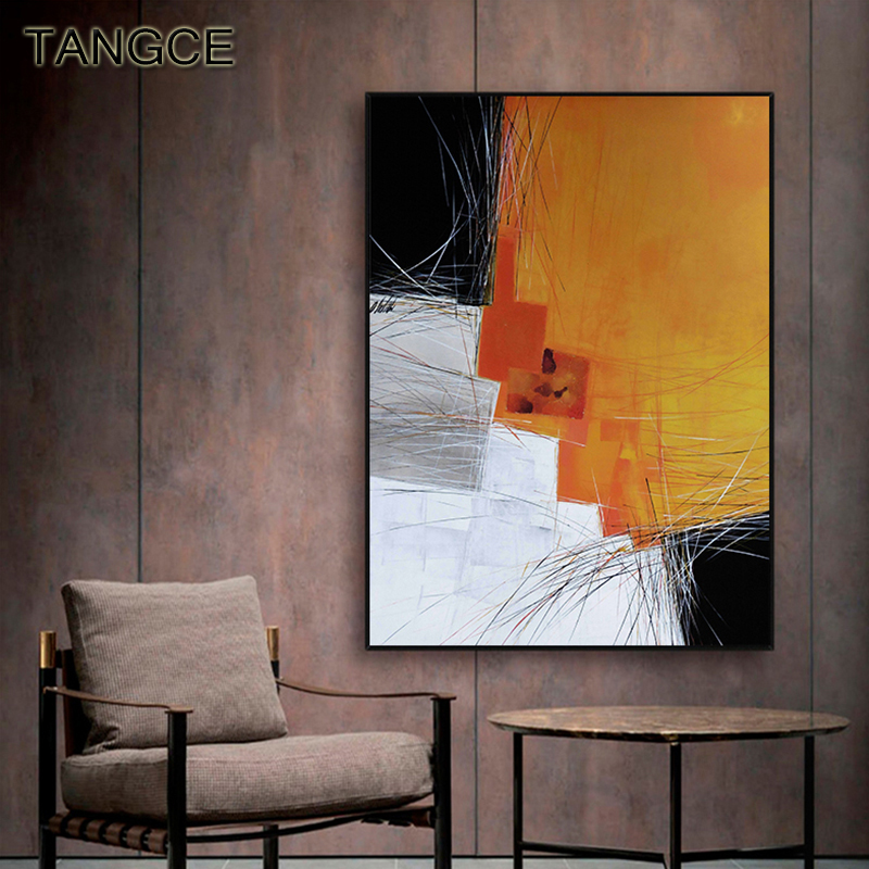 Abstract Canvas Painting Color Lines Poster Print Modern Yellow Green Wall Art Pictures for Living Room Studio Industrial Decor