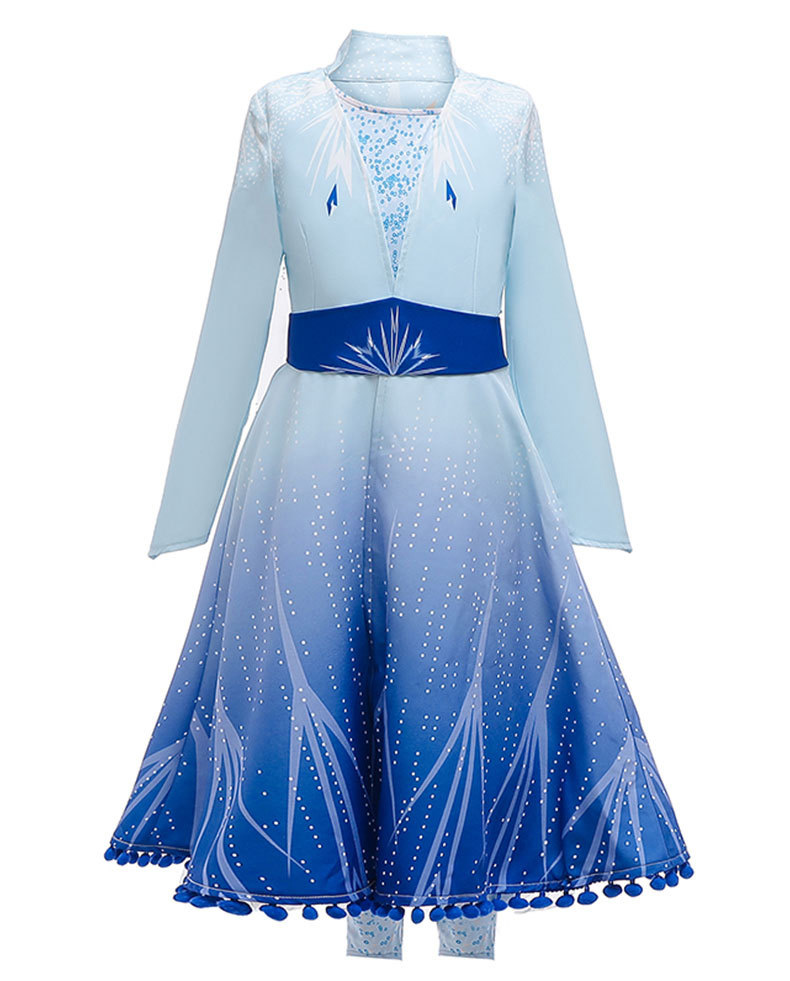 Children Fancy Princess Gown Anna Elsa Dresses For Girls Carnival Cosplay Anna Costume Kids Girls Birthday Party Dress Vestidos