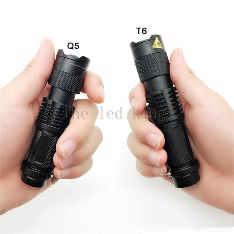 6000 lumen XM-L T6 Q5 LED Taschenlampe Wiederaufladbare Zoomable Linternas Taschenlampe durch 1*14500 oder AA Lampe Hand licht
