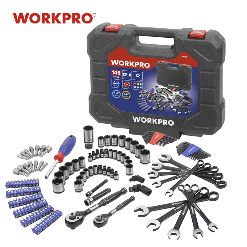"""WORKPRO 145PC Tools Set For Car Repair Ratchet Wrenches 1/4"""" And 3/8"""" Dr. Socket Set Wrench Set Home Tools"""