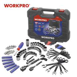WORKPRO 145PC Tools Set for Car Repair Ratchet Wrenches 1/4 and 3/8 Dr. Socket Set Wrench Set Home Tools