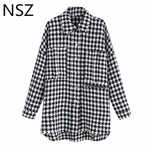 NSZ Women Black White Plaid Oversize Tweed Jacket Houndstooth Coat Long Sleeve Loose Casual Long Checked Outerwear Top cheap Wide-waisted Ages 18-35 Years Old Turn-down Collar Single Breasted Outerwear Coats Full REGULAR 19090223 STANDARD Jackets