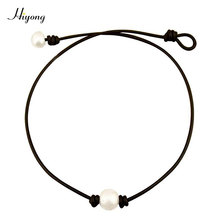 HIYONG White Single Cultured Freshwater Pearl Choker Necklace Handmade Genuine Leather Cord Knotted Jewelry for Women Girls 16