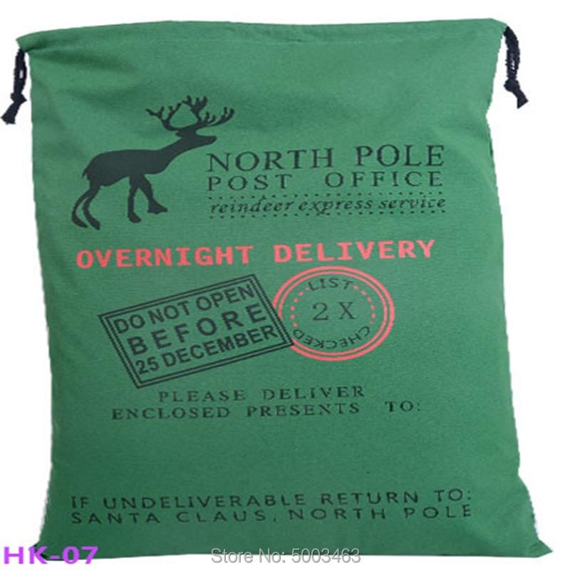 1pc Christmas Santa Sacks  Drawstring Canvas Santa Sack Canvas Bag Hot Sale Santa Claus Gift Bag  Kids New Year Gift 50x70cm
