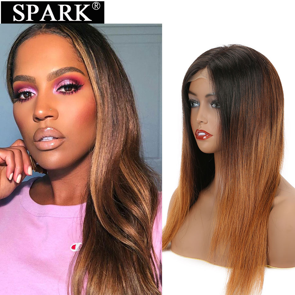 SPARK Ombre Straight Lace Front Human Hair Wigs Pre Plucked Hairline 13*4 & 4*4 Lace Frontal wig 10-26 inch Brazilian Remy Hair