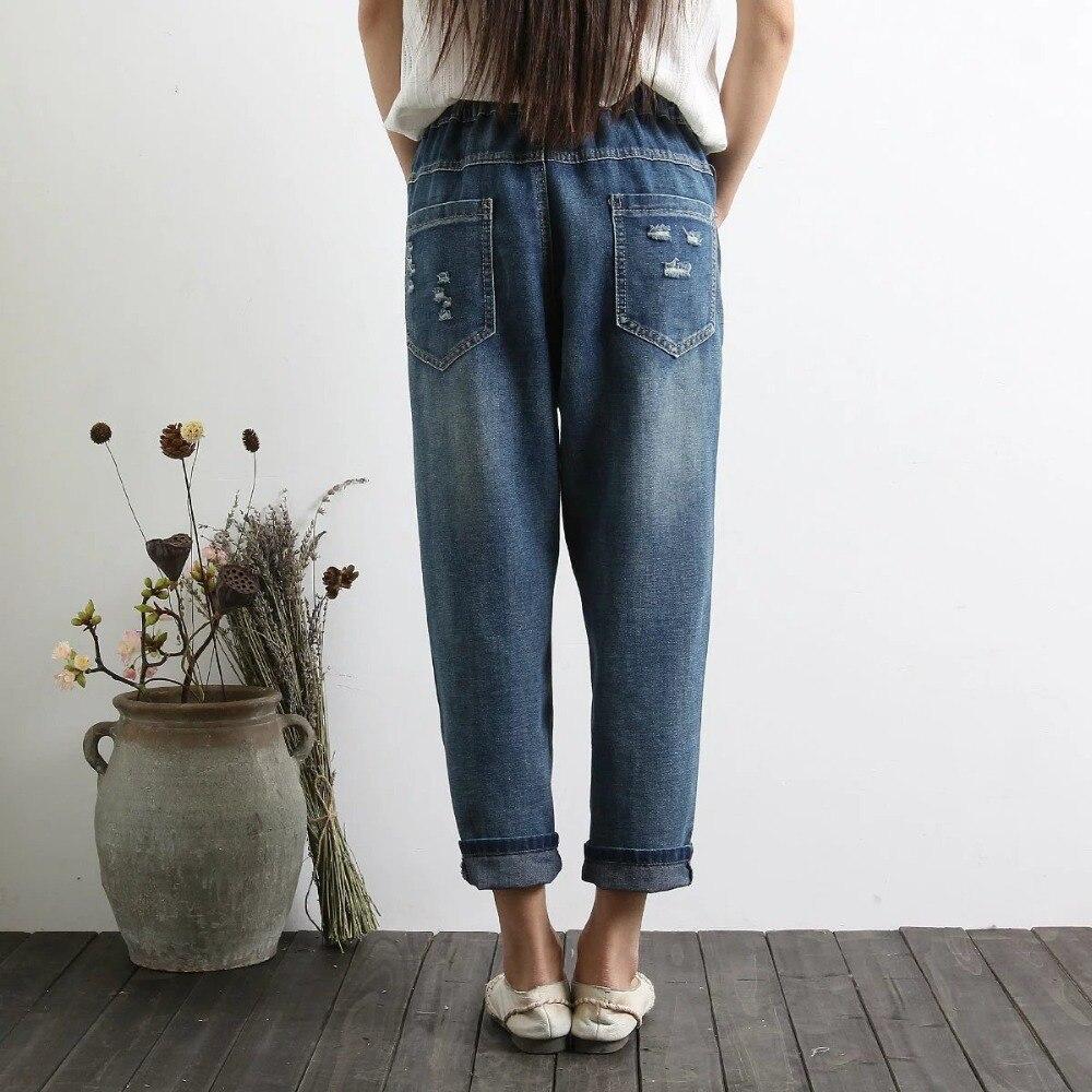 Новые женские летние туфли на Размеры свободные женские шаровары джинсовые брюки женские Повседневное Мягкий хлопок цветочной вышивкой Высокая талия джинсы для женщин